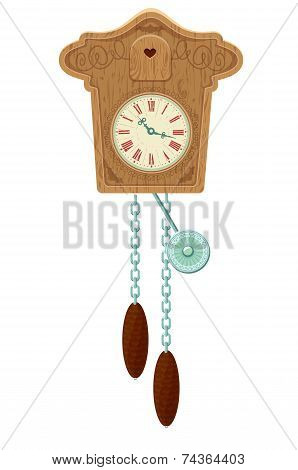 Vintage Wooden Cuckoo Clock - Object Isolated On White Background