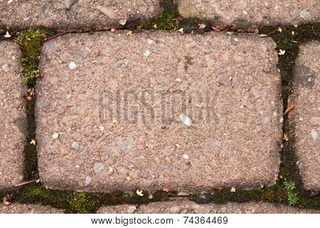 Detail shot of a red-brown paving stone