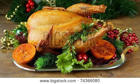baked chicken for festive dinner, Christmas table setting