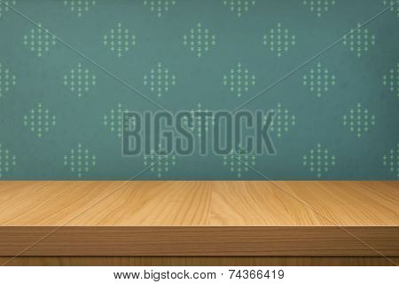 Empty Wooden Table Over Wallpaper With Pattern