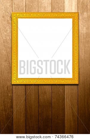 Antique Golden Frame On Wood Pannels, Texture Backgrou