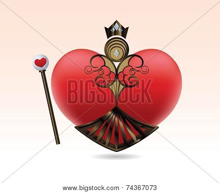 Playful Queen of Hearts icon with staff and crown
