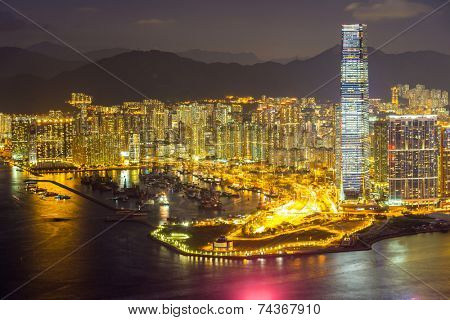 Aerial Hong Kong Skyline from Victoria Peak at night