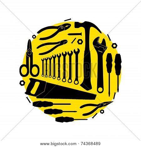 Circular pattern of the instruments. Vector illustration.