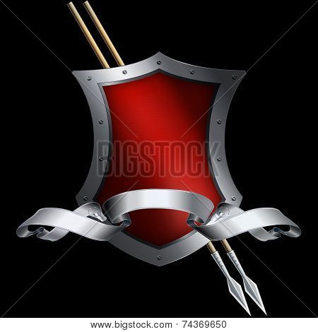 Red Shield And Silver Ribbon.