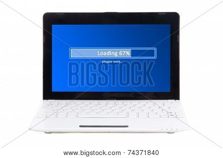 Little Laptop With Loading Panel On Screen Isolated On White