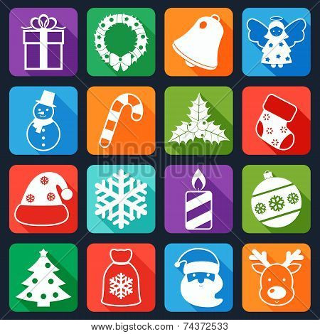 Christmas icons set flat