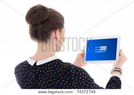 Back View Of Beautiful Business Woman Showing Tablet Pc With Login Panel On Screen Isolated On White