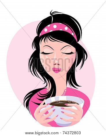 Illustration Of Lovely Girl Holding A Cup Of Delicious Coffee.