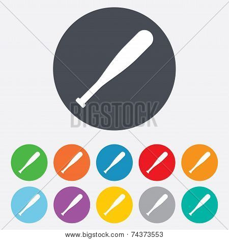 Baseball bat sign icon. Sport symbol.