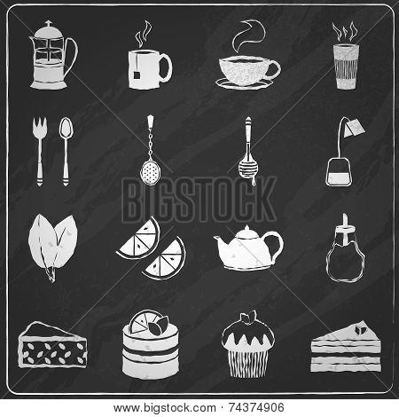 Tea icons set chalkboard