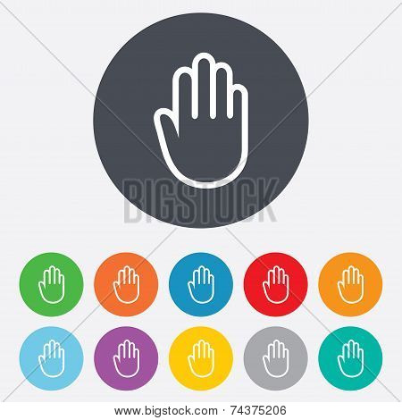 Hand sign icon. No Entry or stop symbol.