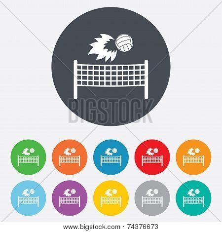 Volleyball net fireball icon. Beach sport symbol
