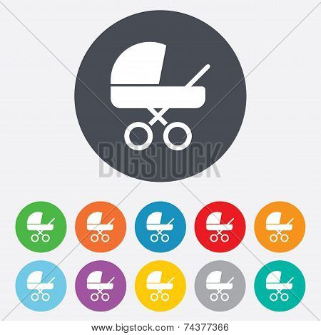 Baby pram stroller sign icon. Baby buggy symbol.