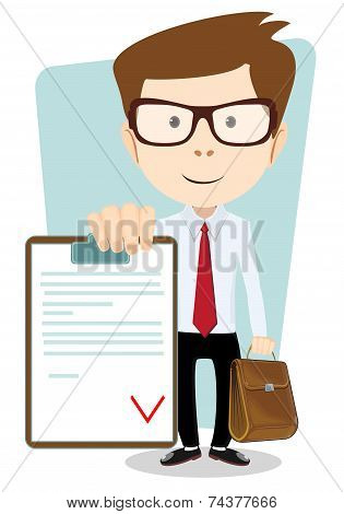 Young Man Holding a Paper With red Flags, Vector