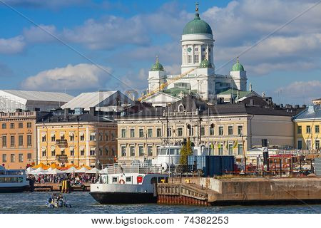 Quay Of Helsinki With Moored Ships And Main City Cathedral