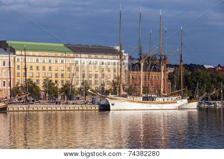 Quay Of Helsinki With Moored Old Sailing Ships
