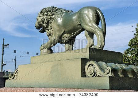 Lion At The Admiralty Embankment In Saint Petersburg
