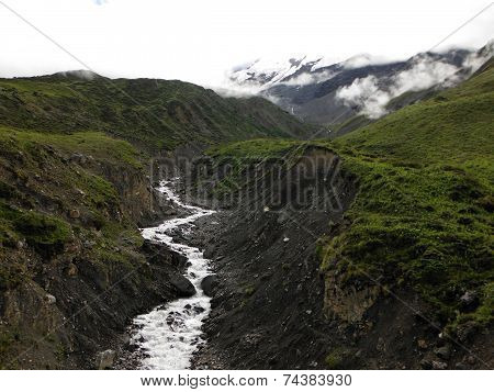 Himalayan River With Glacier