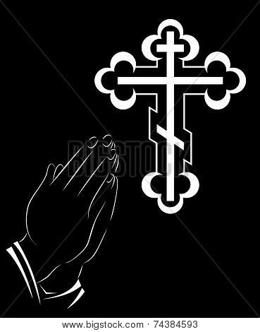 Praying Hands And Orthodox Cross - Illustration