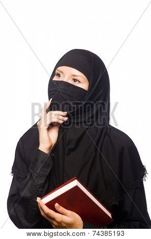 Muslim womanwith book isolated on the white