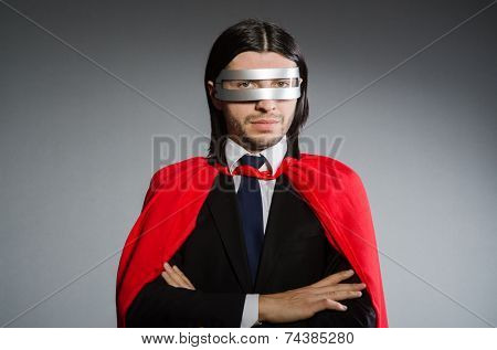 Superman concept with man in red cover