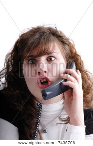 Surprised Woman On The Phone