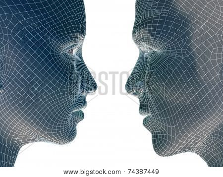 High resolution concept or conceptual 3D wireframe human male or female head isolated on background