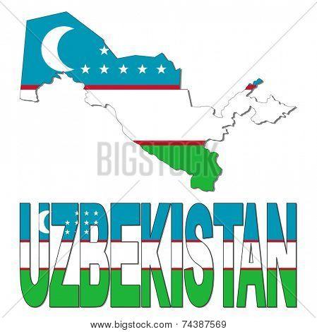 Uzbekistan map flag and text vector illustration