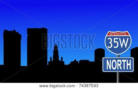 Fort Worth skyline with interstate 35W sign vector illustration