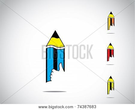 Sharp Yellow, Blue, Red And Green Colorful Isolated Wooden Pencil With Thumbs Up Like Hand Icon