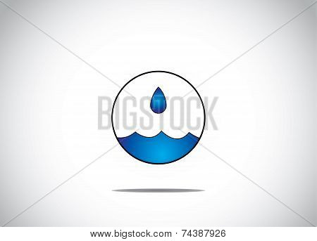 Blue Water Droplet Getting Collected In An Isolated Circular Bubble Water Preservation concept art