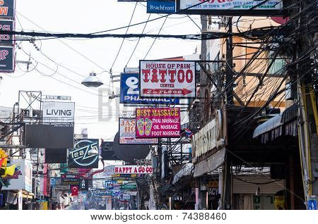 Pattaya, Thailand - January 14, 2012: The street of Pattaya Walking street with advertizing signs in