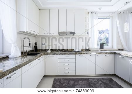 Kitchen With Marble Worktop