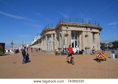 People On A Seafront Promenade In Oostende, Belgium