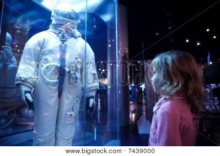 In an astronautics museum acquaint children with history.