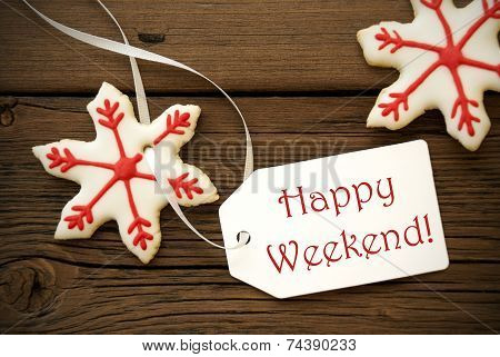 Christmas Star Cookies With Happy Weekend Label