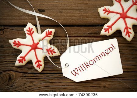 Christmas Star Cookies With Willkommen Label