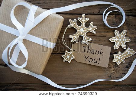 Thank You On A Tag With Christmas Decoration