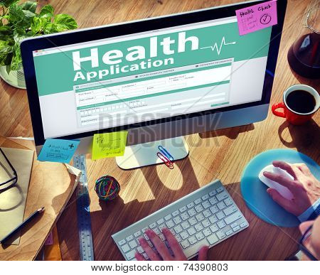Computer Health Insurance Digital Application Form Concept
