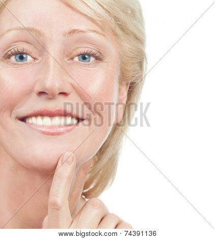 portrait of attractive  caucasian smiling woman blond isolated on white studio shot  toothy smile face  head and shoulders looking at camera old mature riffles