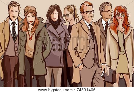Group of people standing in a row - Vector illustration