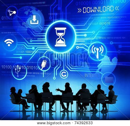 Group of Corporate People Discussing About Internet Download