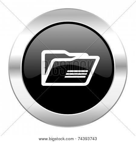 folder black circle glossy chrome icon isolated