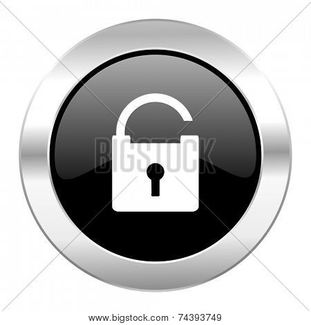 padlock black circle glossy chrome icon isolated