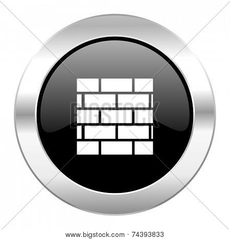 firewall black circle glossy chrome icon isolated
