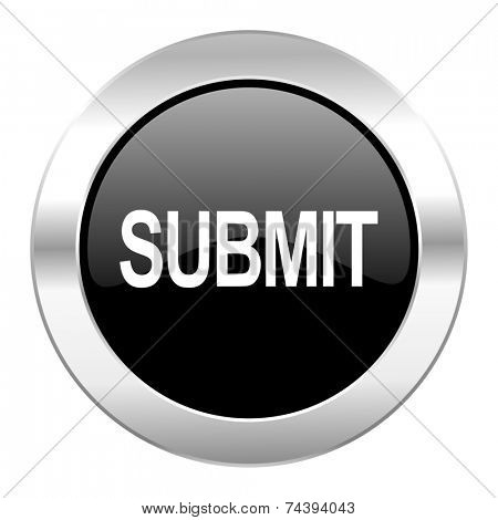 submit black circle glossy chrome icon isolated
