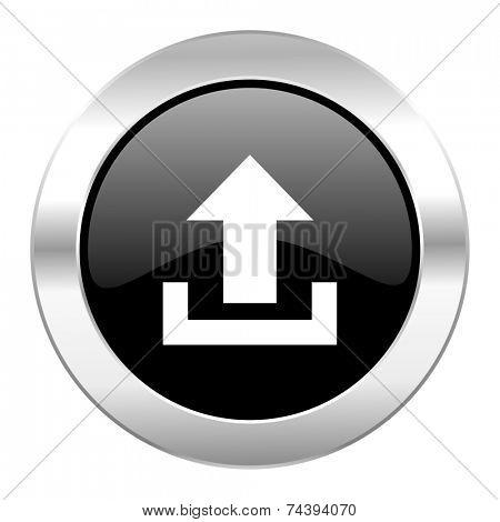 upload black circle glossy chrome icon isolated