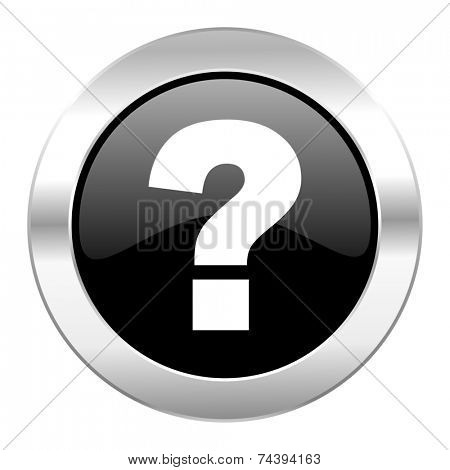 question mark black circle glossy chrome icon isolated