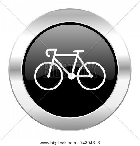 bicycle black circle glossy chrome icon isolated